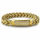 ID CZ Franco Gold Stainless Steel Bracelet