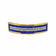 Invisible Setting Custom Blue Gold Grillz