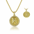 Jesus Face and Mary 2 Sided Gold CZ Micro Pendant