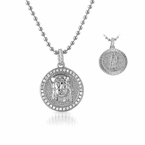 Jesus Face and Mary 2 Sided Rhodium CZ Micro Pendant