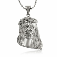 Jesus with Big Hair Pendant Stainless Steel
