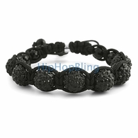 Jet Black 7 Ball Bling Bling Disco Ball Bracelet