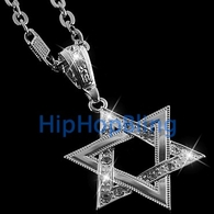 Jewish Star of David Silver Iced Out Charm & 30 Inch Chain