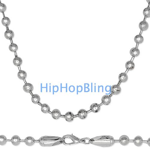 Jumbo 6mm 30 Inch Silver Plated Dog Tag Ball Chain