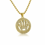 King Crown Circle Micropave Gold Bling Bling Pendant