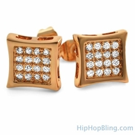 Kite 32 Stone CZ Rose Gold Bling Bling Earrings