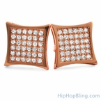 Kite 72 CZ Stones Rose Gold Bling Bling Earrings