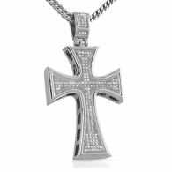 Kite Bling Bling Large Cross Stainless Steel CZ Pendant