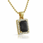 Lab Black Diamond Block Gold Hip Hop Pendant