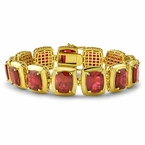 Lab Ruby Clean Frame Gold Hip Hop Bracelet