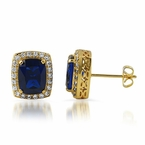 Lab Sapphire Centerstone Gold Bling Bling Earrings
