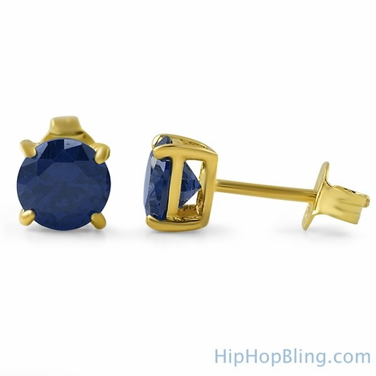 Lab Sapphire Round Stud Earrings Gold .925 Silver