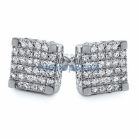 Large 3D Cube CZ Micro Pave Iced Out Earrings