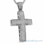 Large 5 Row CZ Bling Cross Stainless Steel
