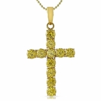 Large 8MM Canary CZ Gold Stainless Steel Cross