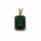 Large Green Gem Pendant Rick Ross Style .925 Silver