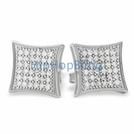Large Kite CZ Micro Pave Iced Out Earrings .925 Silver