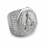 Large Masonic Rhodium CZ Mens Ring