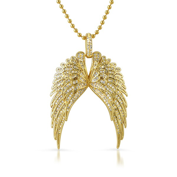 Large Guardian Wings Gold Bling Bling Pendant