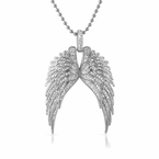 Large Wings Rhodium Iced Out Pendant