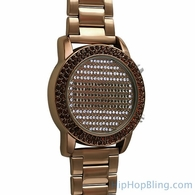 LED Digital Round Face Brown Bling Metal Watch