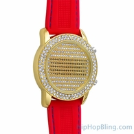 LED Digital Round Face Gold Watch Red Band
