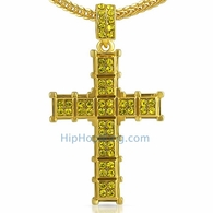Lemonade Cube Cross Ice Out Charm Chain Small