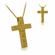 Lemonade Double Canary CZ Diamond Cross 316L