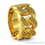 Lemonade Gold Cuban Link Iced Out Ring