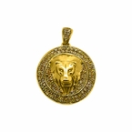 Lion Head Micro Medallion 10K Gold .35cttw Canary Diamonds