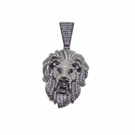 Lion Head Red Eyes CZ Hip Hop Pendant .925 Silver