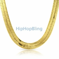 Mann Gold Herringbone Chain Plated JUMBO 14mm Wide