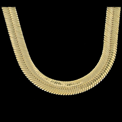 Mann Gold Herrringbone Plated 11mm 24 Inch Chain Necklace