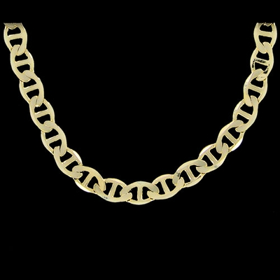 Marine 6mm 24 Inch Gold Plated Hip Hop Chain Necklace