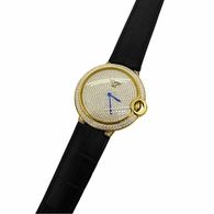 Mens CZ Pave Rounded Gold Black Leather Watch