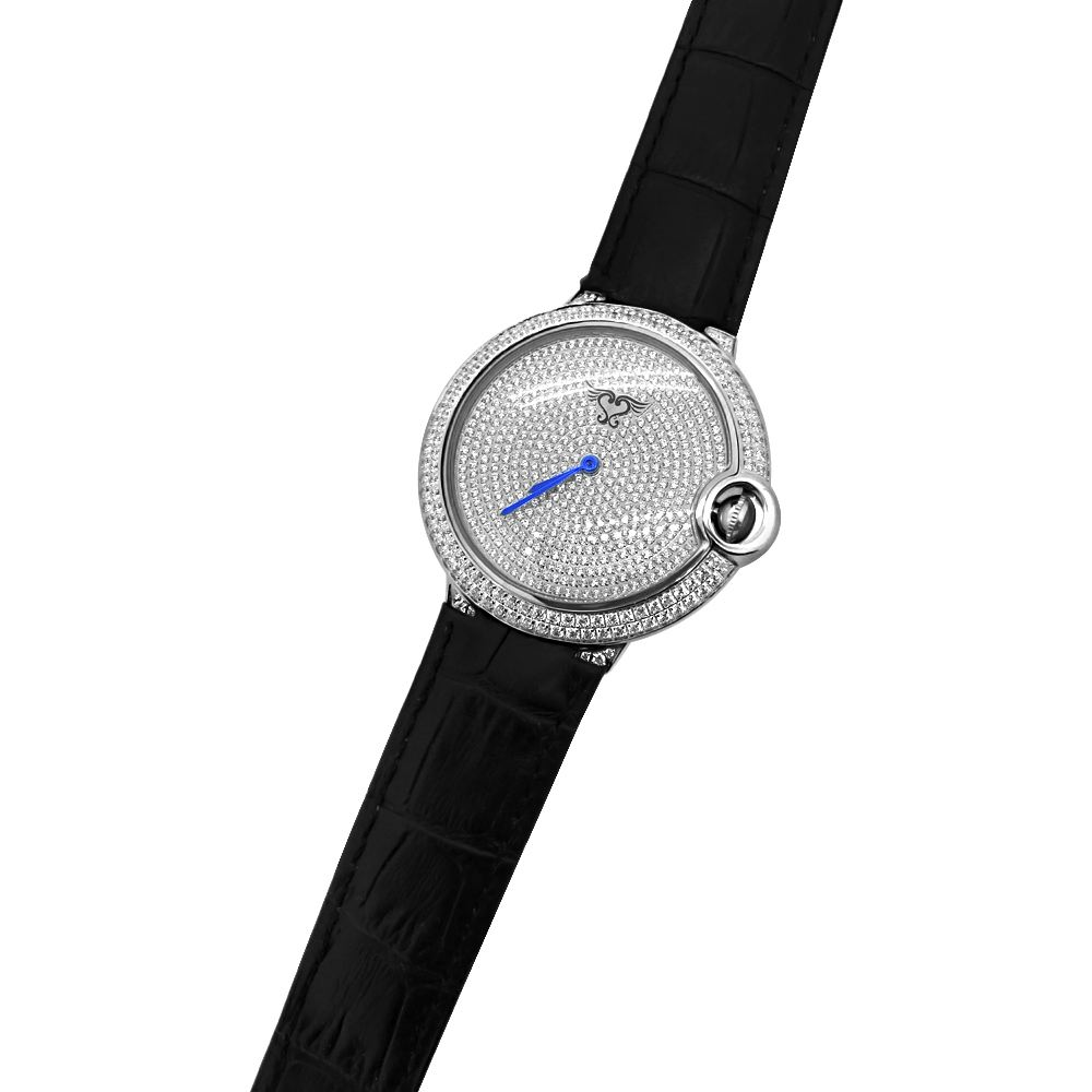 mens cz pave rounded steel black leather luxury