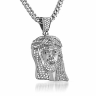 Micro Classic Jesus Piece Pendant Iced Out Steel