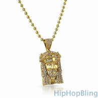 Micro Gold Jesus Piece .925 Sterling Silver