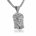 Micro Jesus Pendant Iced Out Pave Pendant Steel