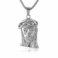 Micro Jesus Pendant Stainless Steel Solid Back