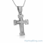 Mini Block CZ Cross Iced Out Stainless Steel