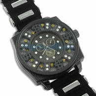 Money Sign All Black Floating Ice Jelly Bling Bling Watch