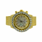 Monster Bling CZ Iced Out Watch Gold Stainless Steel