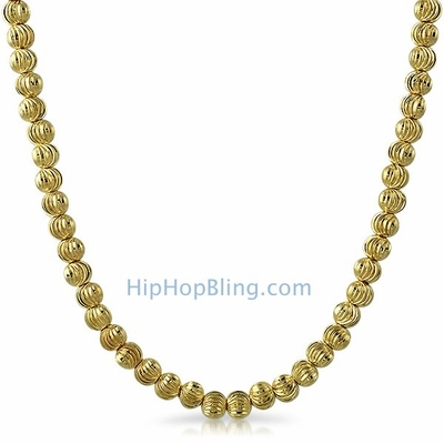 Moon Cut Chain 5MM Gold Necklace