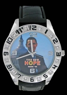 Obama 08 #3 Capital Picture Black Leather Silver Watch