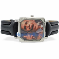 Obama Thumbs Up Square Face Black Leather Mens Watch