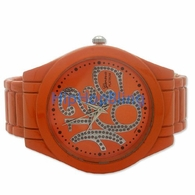 Orange Big Face President Ladies Watch Bangle