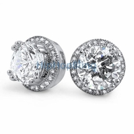 Pave Ice Border CZ Solitaire Bling Bling Earrings