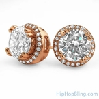 Pave Ice Border Rose Gold CZ Solitaire Bling Bling Earrings