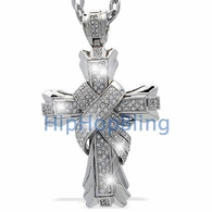 Phat X Cross Rhodium Iced Out Pendant